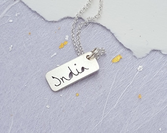 Silver personalised name charm necklace, perfect for sisters, bridesmaids, mums, family necklace