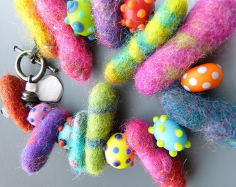 Felted Wool and Lampwork Glass Bead Bracelet
