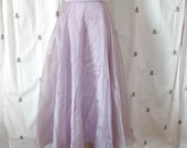 RESERVED for LAURA, Vintage Lilac Organza Maxi Skirt, Fishtail Hem, Formal, Party, Michelangelo, Size 10, Medium
