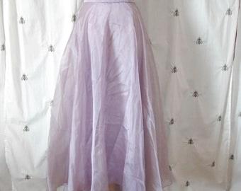 Vintage Lilac Organza Maxi Skirt, Fishtail Hem, Formal, Party, Michelangelo, Size 10, Medium