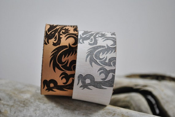 DRAGON | cuff | Leather Dragon Cuff, Unique Gift for or HIM or Her, Dragon design, Gift for Game of Thrones Lover