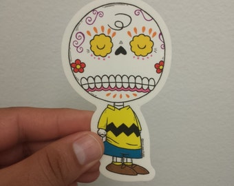 Charlie Brown Calavera Die-cut Vinyl Sticker Day of the Dead