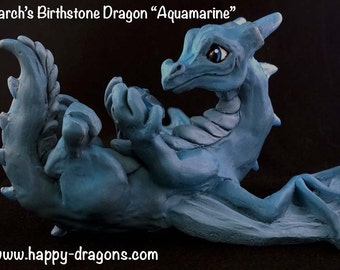 Happy Dragons Birthstone Dragon March Dragon Sculpture Statue Figurine Original Fantasy Art by Nina Bolen