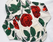 Menstrual Flannel Maxi Pads - 9.5 inch Reusable Eco Friendly Cotton Mama Cloths - Red Roses with Green Stems