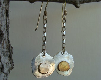 Recycled Silver and Gold Dangle Handcrafted Artisan Earrings