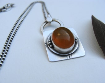Carnelian Cabochon Sterling Silver Oxidized Artisan Necklace
