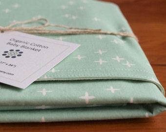 Mint Green Baby Blanket, Stars Blanket, Green Nursery, Organic Cotton Baby Blanket, Baby Shower Gift for Newborn, (Last One)