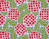 HALF YARD - Amy Butler Fabric, Cameo Collection, Tea Rose in Silver - SALE