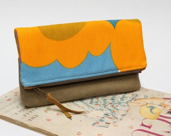 Retro foldover clutch bag, canvas handbag