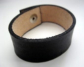 """Leather Bracelet Blank 1"""" black leather wrist band metal snap  8-1/2 """"  8.5 inches long"""