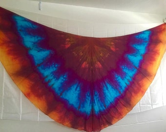 Belly dance costume half circle silk veils READY TO SHIP  fan poi flow art