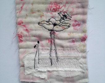 Textile Art Piece - Poppies