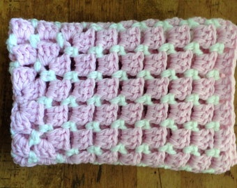 Baby Blanket, Chunky Hand Crochet, Stroller Carseat, Baby Gift,  Photo Prop Pink Cream
