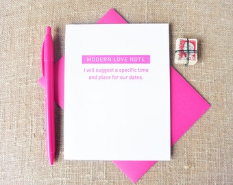 Letterpress Greeting Card - Modern Love Note - Mel+Mari - Time and Place for Dates - MAM-497