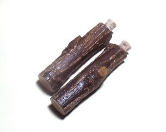 Set Of 2 Small Rustic Wood Cases Portable Pocket Case Woodland Natural Man For Salt Pepper Needles Matches Camping Outdoorsman Accessory