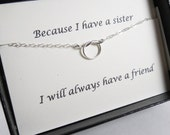 Knot Necklace with Message Card SET// Necklace for Sister// Best Friend//Sterling Silver or Gold Filled Tiny Knot Necklace/Wedding Necklace