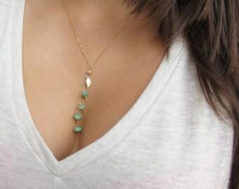Gemstone Necklace Gemstone Jewelry Gold Lariat Necklace Style Chrysoprase Necklace Gold Leaf Necklace Gold Filled