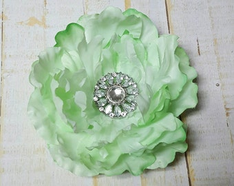"Green Hair Flower Green Flower Clip Green Hair Clip 3.5"" Green Peony with Sunflower Rhinestone Flower Clip Wedding Bridesmaid Flower Girl"