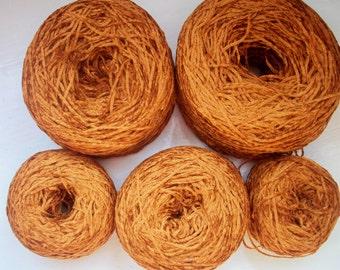 Destash yarn, fine chenille, light, drapes, rust, copper, amber