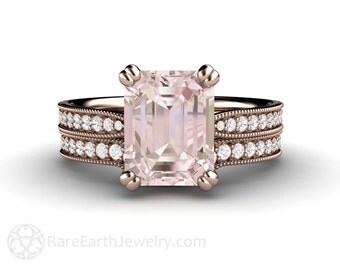 Morganite Bridal Set Morganite Engagement Ring Emerald Solitaire Milgrain Rose Gold Conflict Free Diamonds 14K or 18K Gold Wedding Set