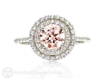 Double Halo Morganite Engagement Ring Diamond Halo 14K Morganite Ring Conflict Free Diamond Alternative Custom Bridal Jewelry