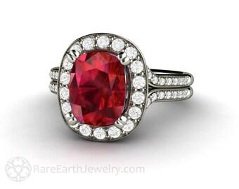 Ruby Engagement Ring Cushion Ruby Ring with Diamond Halo July Birthstone Gemstone 14K or 18K Gold Wedding Ring