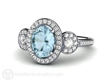 Aquamarine Engagement Ring 3 Stone Oval Aqua Diamond Halo Aquamarine Ring March Birthstone