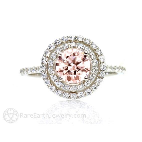 Double Halo Morganite Engagement Ring Diamond Halo 14K Morganite Ring Conflict Free Diamond Alternative Custom Bridal Jewelry
