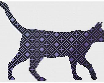 Pretty graduated color pattern kitty cat silhouette, custom cross stitch pattern
