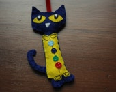 Pete the Cat Felt Christmas Ornament Four Groovy Buttons