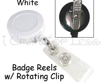 25 Retractable ID Badge Holder / Reels - White - Vinyl Strap and Rotating Clip - SEE COUPON