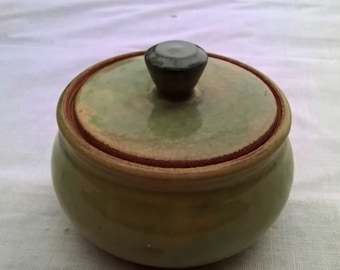 Hand Thrown Lidded Pot, Cache Pot, Beautiful Mossy Green, Studio Pottery Jar, Kitchen, Desk, Bath