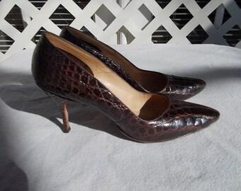 Ladies Alligator Pumps , 1960s Spike High Heels, sz 7 a a , or 6.5 regular, High Heels