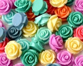 30 Domed Rose Cabochons 15mm