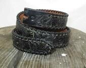 Black Roses Western 70s leather Cowboy belt Roses tooled belt Whipstitch leather belt vintage Western 70s leather Cowgirl belt USA 35