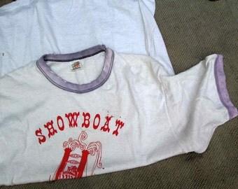 Vintage 70s Ringer shirt sun faded T shirt worn thrashed Showboat musical theater Vintage red ringer tshirt