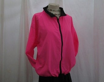 Surfer parka Hot Pink windbreaker 80s Vintage Pullover Parka Pink outdoor jacket Black Zipper nylon coat M