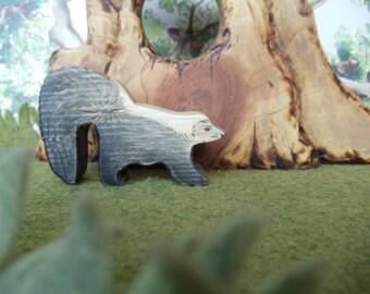 Wood Skunk, Waldorf toys, Montessori materials, Toy Eco-friendly Gift Oddity