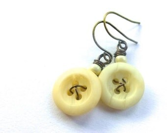 Gift Sale Off-White Vintage Button Dangle Earrings -Shabby Chic