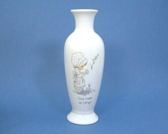 "Precious Moments Bud Vase, White China, 6-1/4"" Tall, Enesco Corp, God Makes All Things, Vintage 1985"