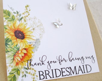 Flower girl gift or bridesmaid gift Sunflowers card Tiny Butterfly earrings Stud post earrings Summer wedding Bridesmaid earrings