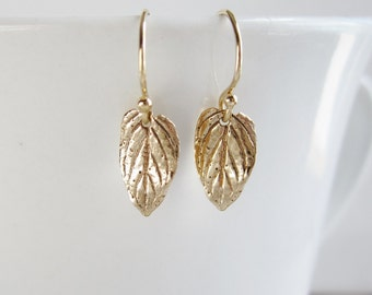 Dainty leaf earrings Gold earrings Gift for her Small leaves Hypoallergenic ear wires Small dangle earring Nature jewelry Bridesmaid earring