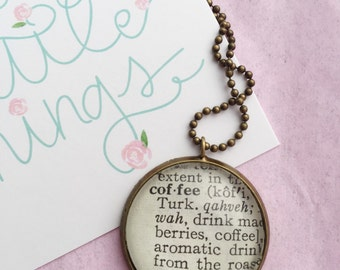 Coffee Necklace, Vintage Dictionary Word Pendant, Coffee Lover Pendant, OOAK Coffee Definition Jewelry, Gift for Barista