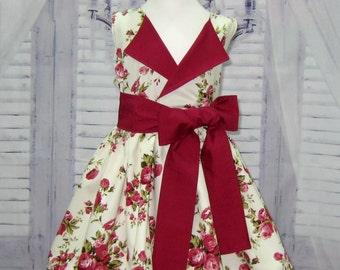 Vintage Style Flower Girl Lapel Dress,  Little Girl Floral Dress, Burgundy Girl Dress, Cream Girl Dress, Toddler Dress, Girl Floral Dress