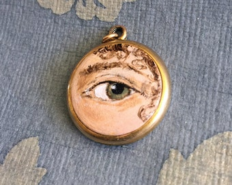 Sale 20% Off // LOVER'S EYE Jewelry, Locket Pendant - original painting by Tina Tarnoff, vintage locket // Coupon Code SALE20