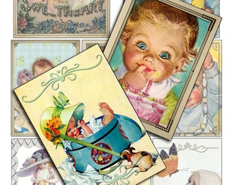 Digital Collage Sheet Vintage Magazine Art Baby Faces ACEOs ATCs Instant Download Png file