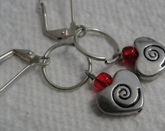 Love Heart Red Bead Dangle Pierced Earrings