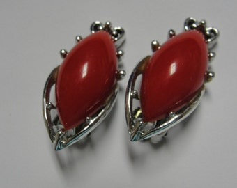 Red Lucite and Silver Tone Clip Earrings