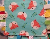 Crinkle Blanket Toy Owl Monkey Frog Fox Prints with Ribbons Tags and Minky Back