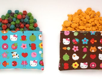 Set of 2 Eco Friendly Reusable Snack Bags - Handcrafted from Hello Kitty Fabrics (Ready To Ship)
